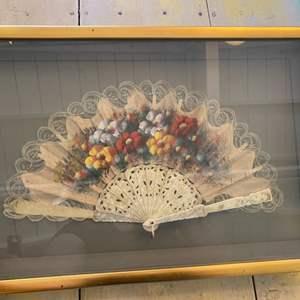 Lot # 25 - Framed Hand-painted fan