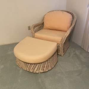 Lot # 2 - Large Wicker Arm Chair and Ottoman