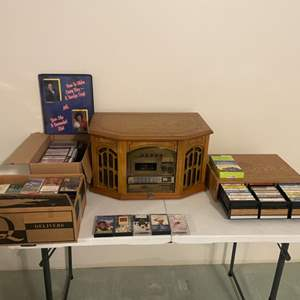 Lot # 6 - Thomas Pacconi 1900 Replica Record, CD, Cassette and Radio, Large assortment of Cassette Tapes
