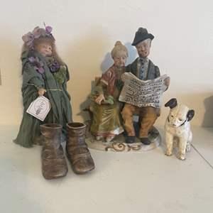Lot # 12 - Vintage Ceramic Statues and Handmade Figurine