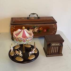 Lot # 19 - Rosebox/Musical Carousel/Miniature Music Box