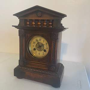 Lot # 22 - Vintage Solid Wood Clock With Clock Key