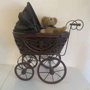 Lot # 24 - Vintage Wood Carriage with Vintage Boyd Teddy Bear