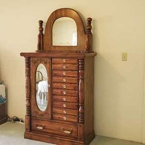Lot # 26 - Vintage Solid Wood Dresser with Mirror