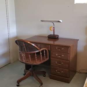 Lot # 30 -  Solid Wood  Desk with Chair and Lamp