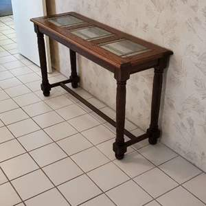 Lot # 35 -  Tall Glass Top Foyer Table
