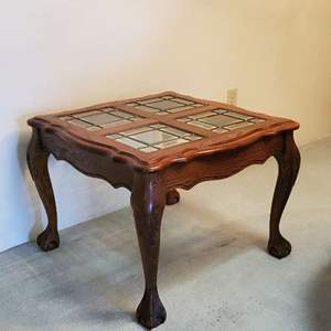 Lot # 37 - Solid Wood Glass Top End Table (Matches Lot # 36)