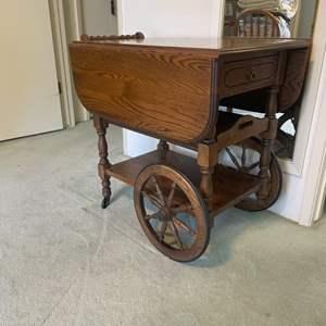 Lot # 41 - Vintage Solid Wood Tea Cart