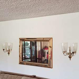 Lot # 49 -  Large Framed Mirror with Wall Decor