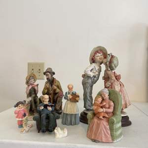 Lot # 54 - Grandmothers Lap Music Box Figurine and Collectors Figurines