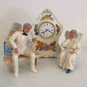 Lot # 55 - Quartz Porcelain Clock/Small Solar Music Box/Elderly Angel Figurines