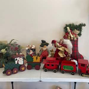 Lot # 58 - Wooden Train and Christmas Decor