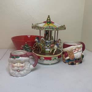 Lot # 61 - Metallic Holiday Go Round Carousel and Santa Mugs
