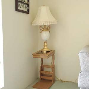 Lot # 75 - End Table Magazine Rack with Lamp