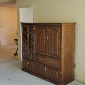Lot # 76 -  Wood Entertainment Center (Electronics Not Included)