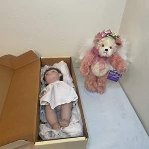 Lot # 104 - Lloyd Lee Middleton Little Angel Collectible Doll  and Collectible Bear
