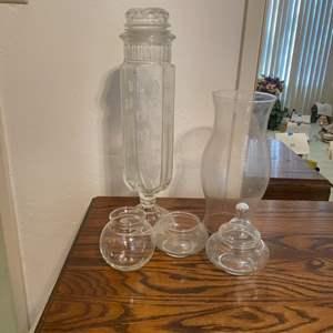 Lot # 108 - Vintage Jar and Glass