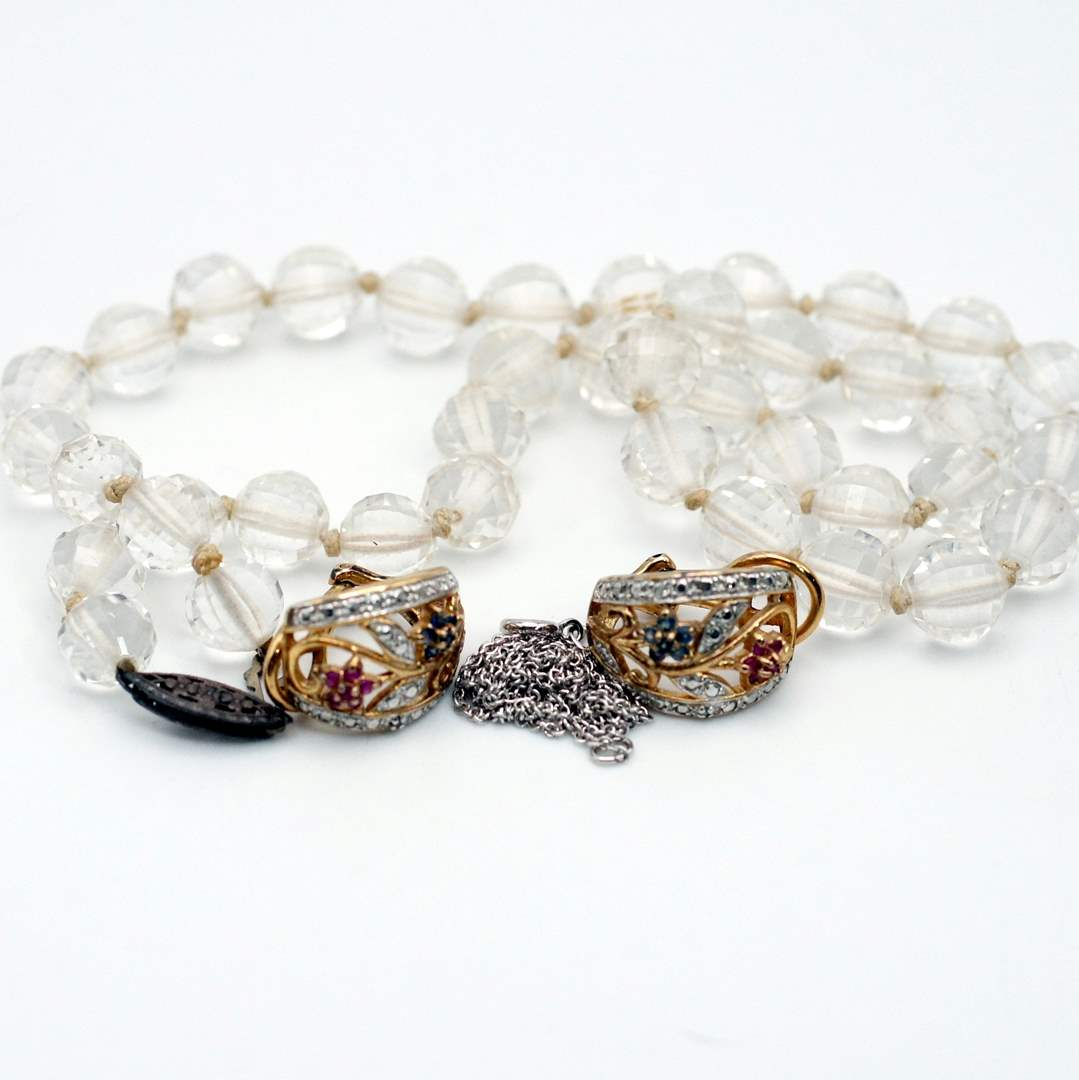 """Lot # 238 - 925 Silver (Crystal Beaded Necklace, 15"""" Chain, Vintage Earrings) (main image)"""
