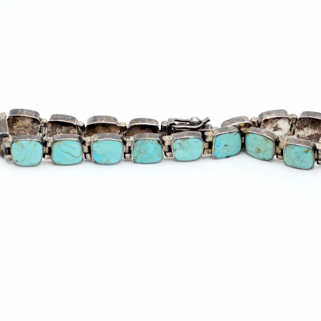 Lot # 239 - 950 Silver and Turquoise Bracelet (main image)