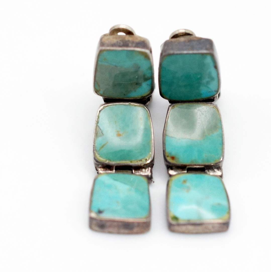 Lot # 240 - 925 Silver and Turquoise Earrings (main image)