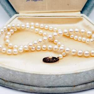 Lot # 241 - Vintage Hand-Knotted Pearls (Sterling Silver Clasp)