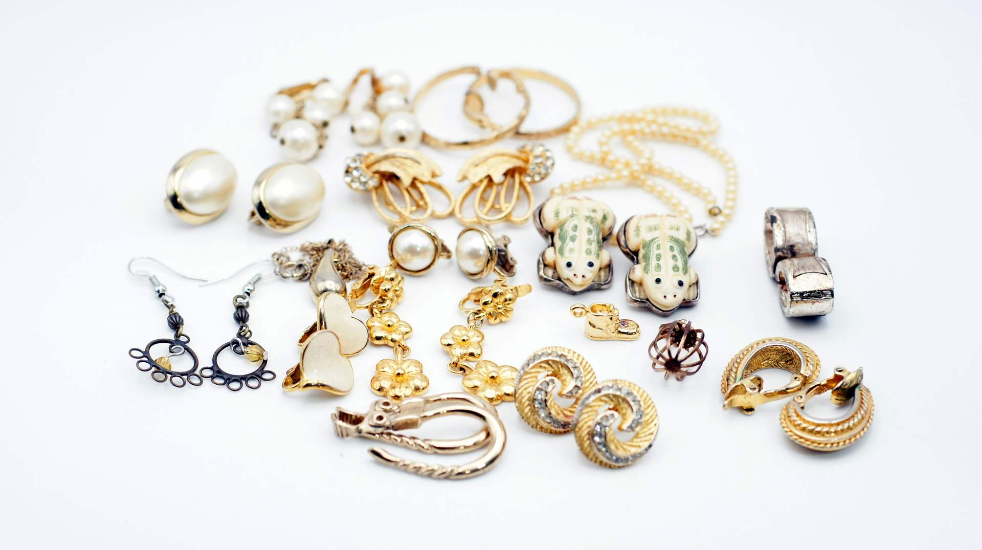 Lot # 243 - Vintage Earrings and Child's Pearl Necklace and More (main image)