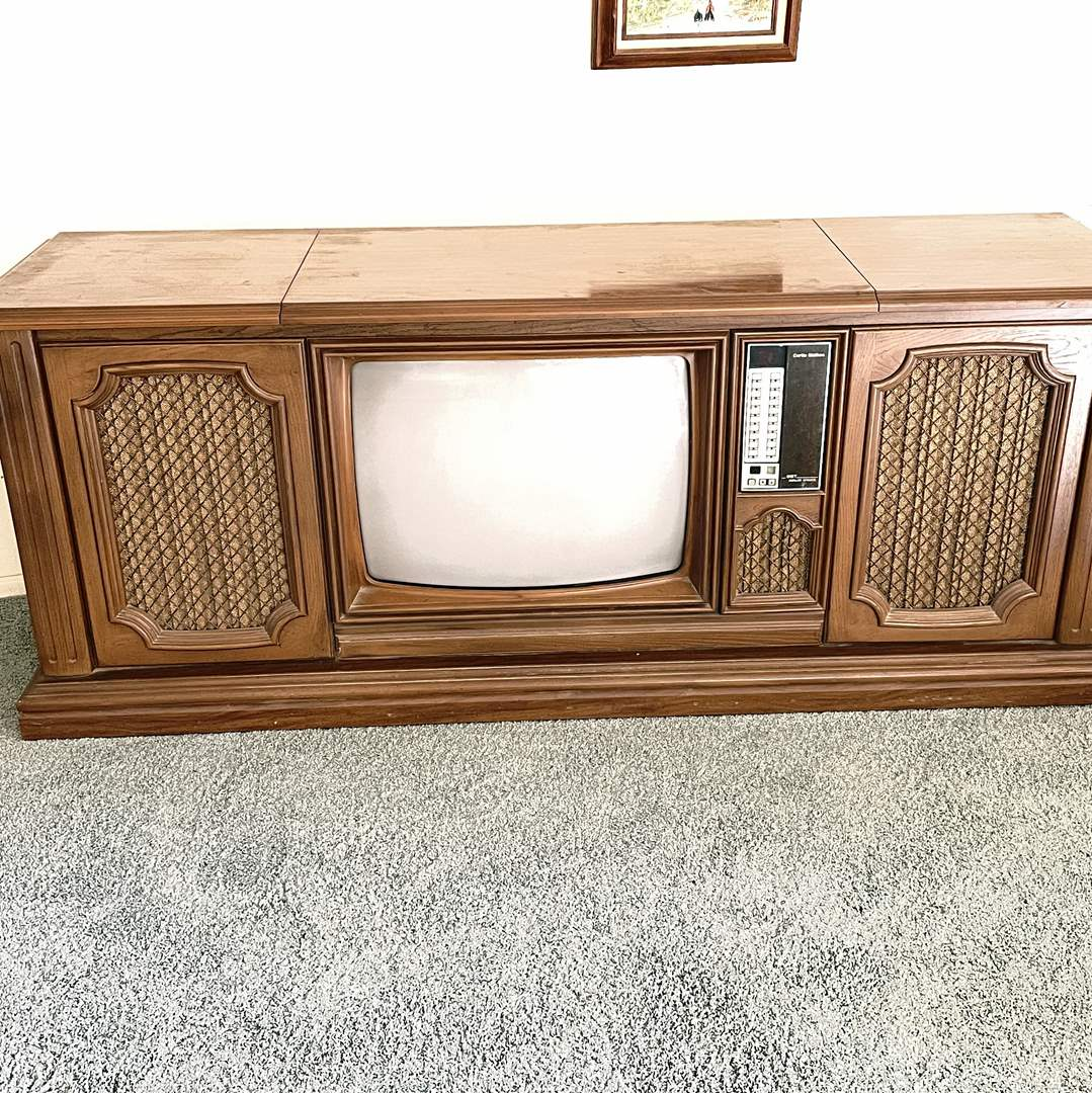 Lot # 1 - Vintage Curtis Mathers TV with Record Player and Hidden Speakers (Includes Remote) (main image)