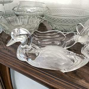 Lot # 18 - Clear Glass Collection including Lidded Duck Candy Dish