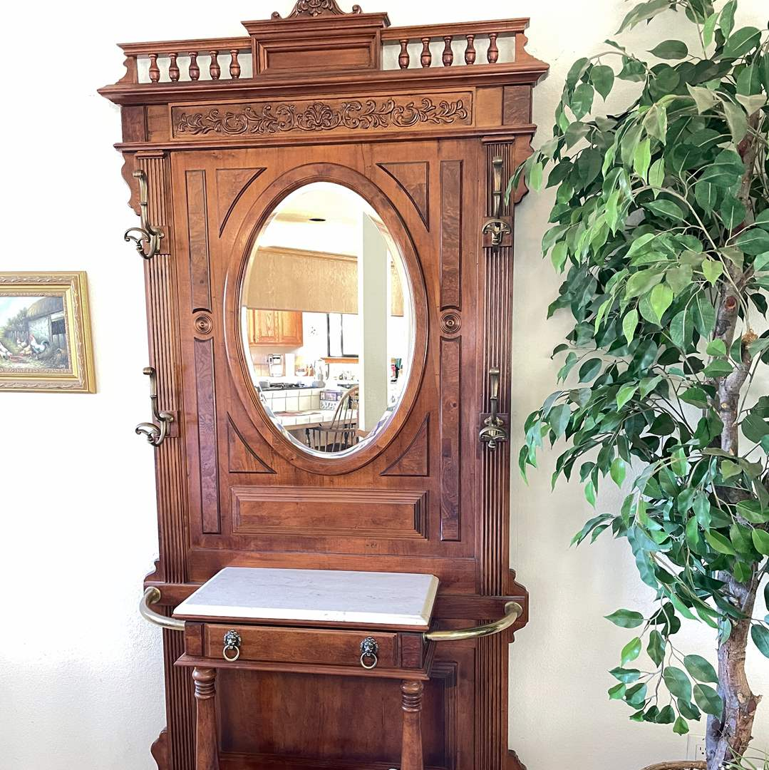 Lot # 19 - Gorgeous Mirrored Wood and Marble Hall Tree (Seashells not Included) (main image)