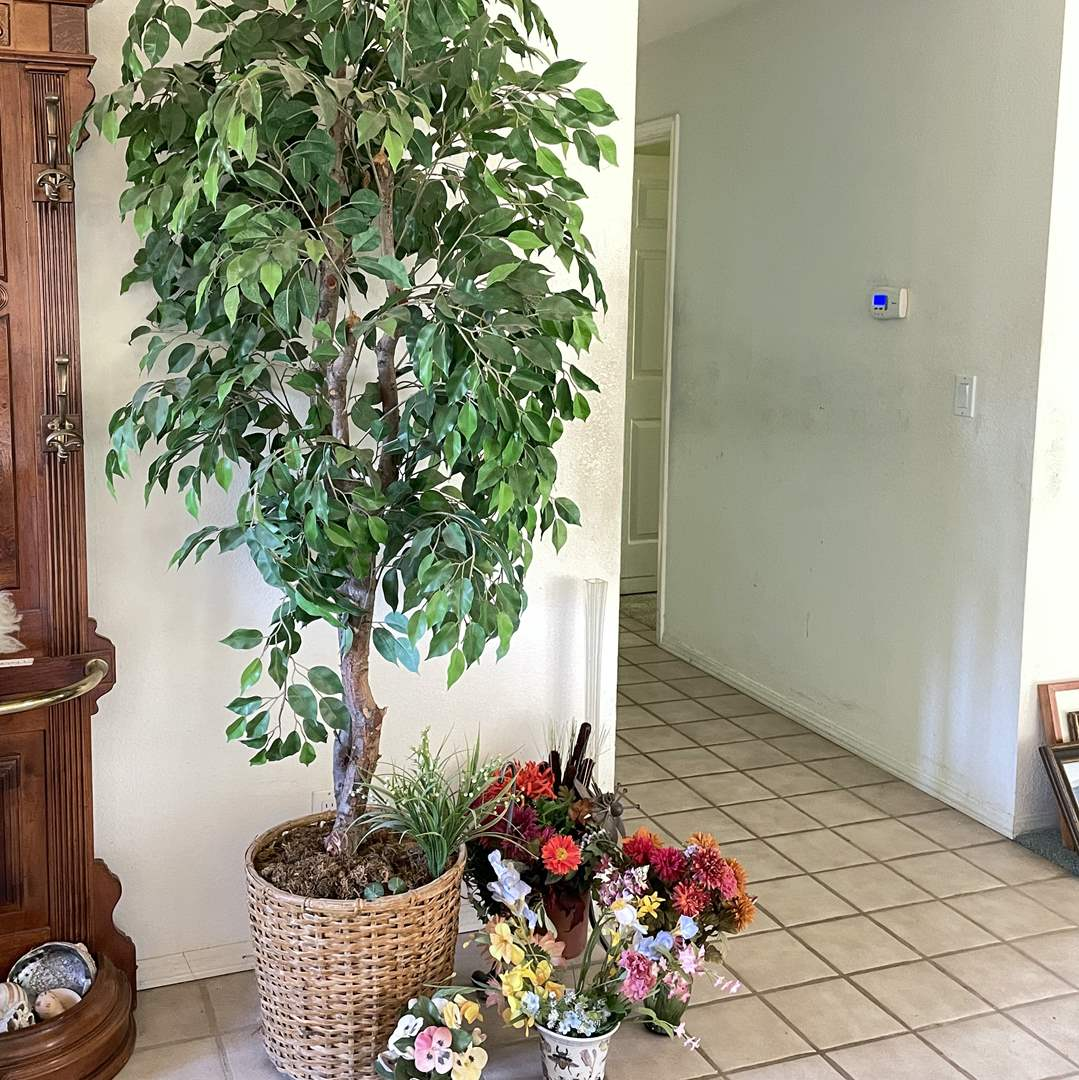 Lot # 21 - Faux Potted Tree and Plants, Metal Cat Plant Holder (main image)