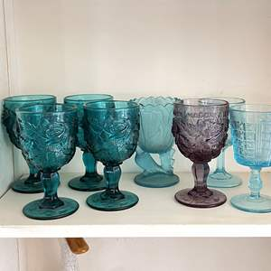 Lot # 34 - Madonna Inn and Similar Pressed Glass Goblets