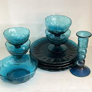 Lot # 35 - Vintage Blue Glass