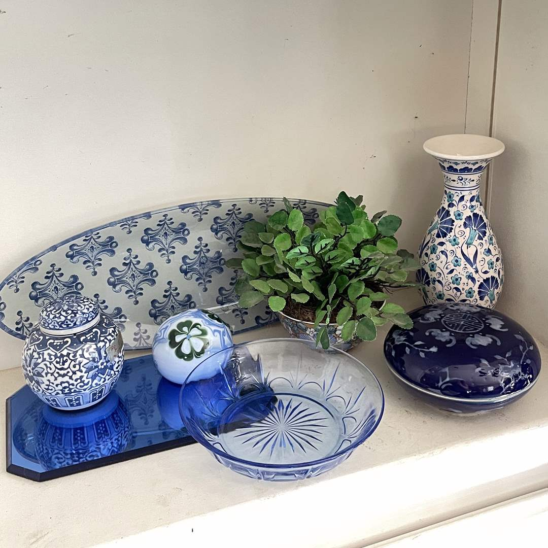 Lot # 39 - Vase, Ginger Jar, Trays and More Decor  (main image)