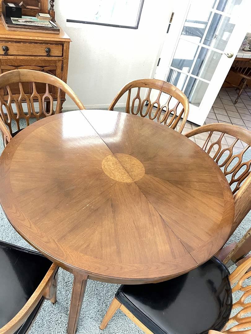 Lot # 46 - Gorgeous Midcentury Burlwood Sunburst Dining Table and 5 Chairs (2 Leaves + 1 Handmade Leaf Included) (main image)