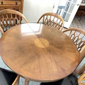 Lot # 46 - Gorgeous Midcentury Burlwood Sunburst Dining Table and 5 Chairs (2 Leaves + 1 Handmade Leaf Included)