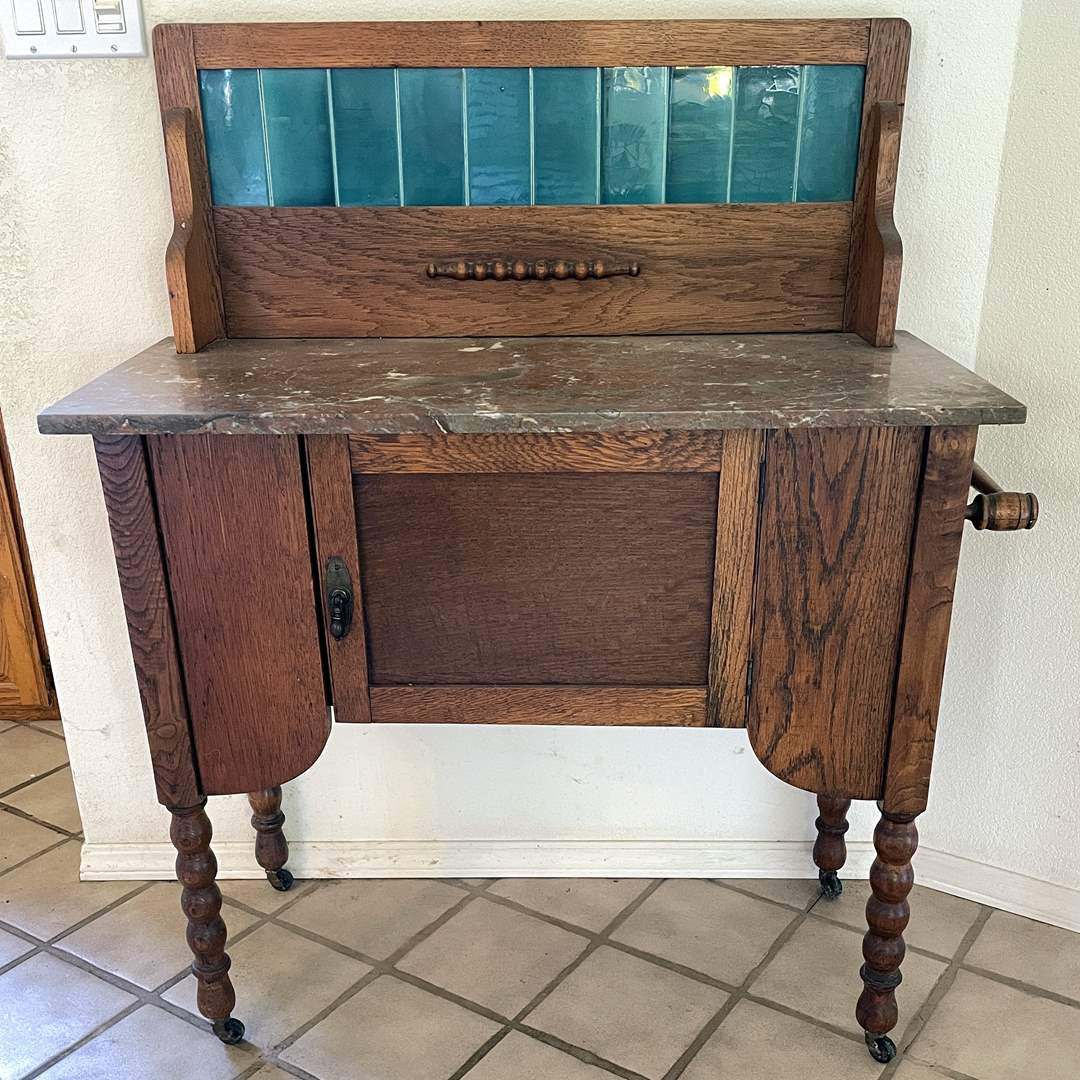 Lot # 63 - Antique Wash Board with Stone Top (main image)