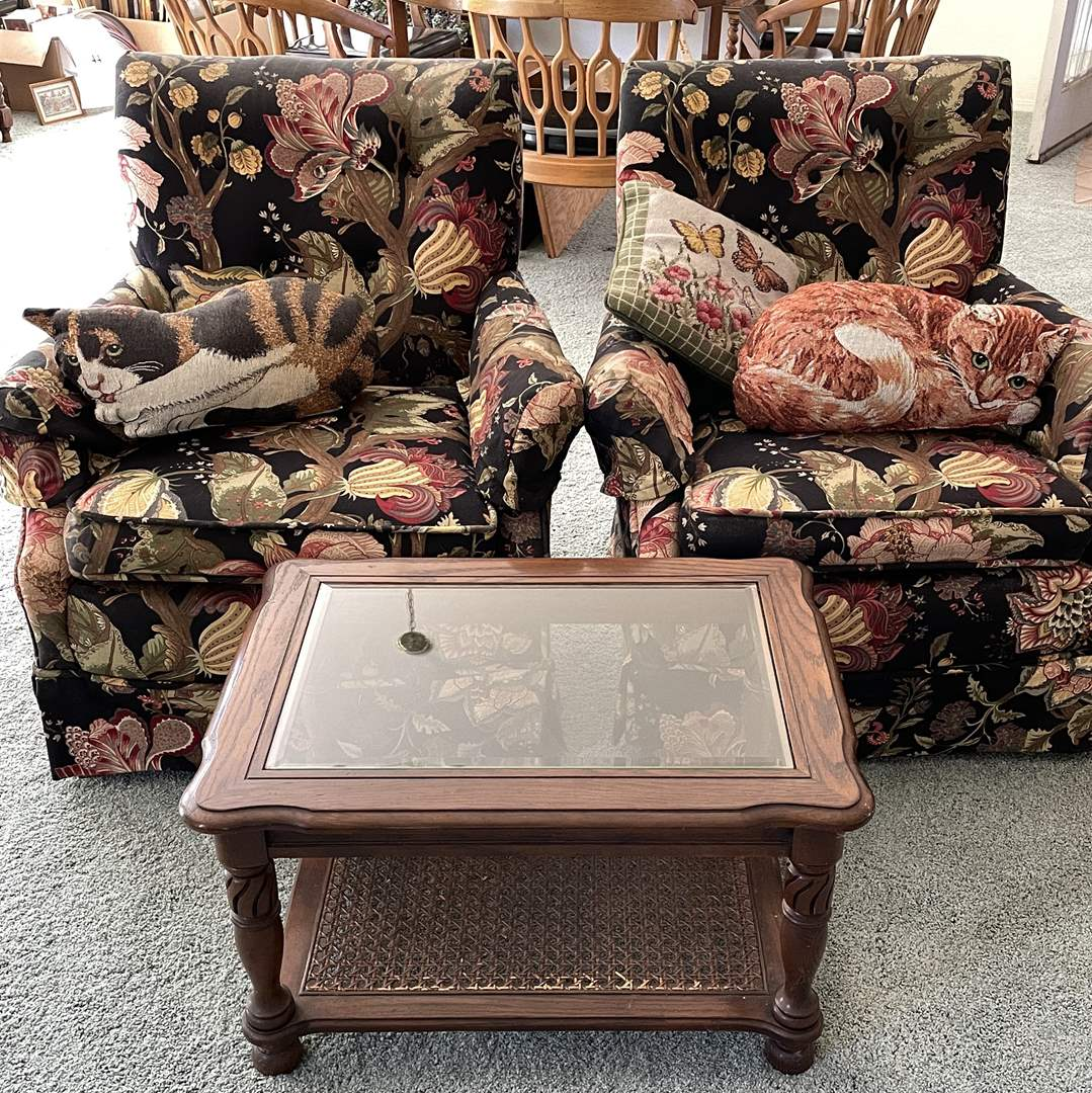 Lot # 24 - Two Small Armchairs, Side Table and Cushions (main image)