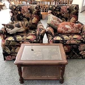 Lot # 24 - Two Small Armchairs, Side Table and Cushions