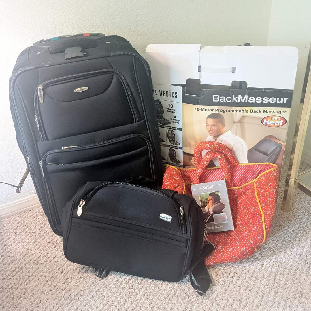 Lot # 98 - Assorted Luggage, Suitcase and Back Massager  (main image)