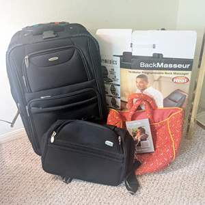 Lot # 98 - Assorted Luggage, Suitcase and Back Massager