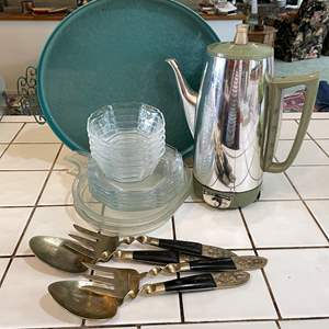 Lot # 71 - Vintage Entertaining (Moire Glaze Platter, Dishes, Pyrex, Percolator and Serving Utensils)