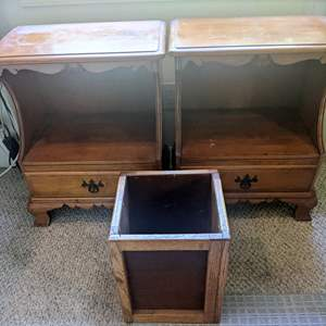 Lot # 102 - Matching Wood Side Tables/ Night Stands and Waste Basket