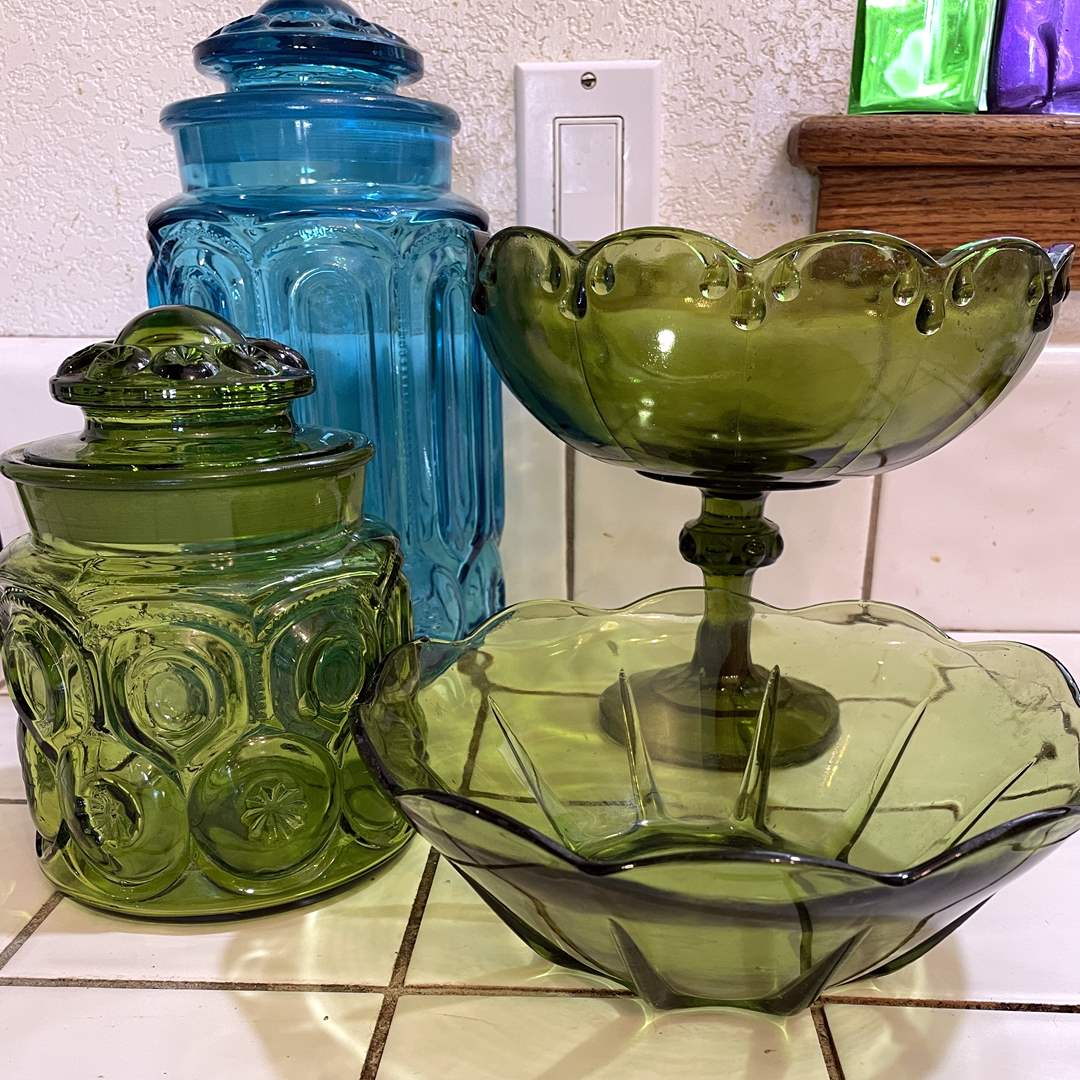 Lot # 72 - Vintage colored glass Canisters, Bowls (main image)