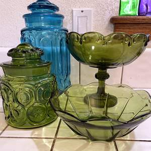 Lot # 72 - Vintage colored glass Canisters, Bowls