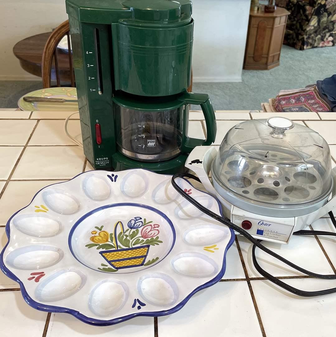 Lot # 74 - Krups Coffee Maker, Oster Egg Cooker and Egg Platter (main image)