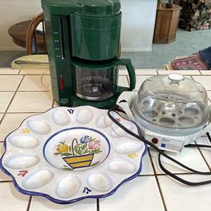 Lot # 74 - Krups Coffee Maker, Oster Egg Cooker and Egg Platter