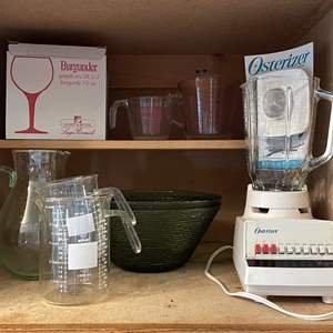 Lot # 87 - Oster Blender, Pitcher, Gorgeous Serving Bowls and More