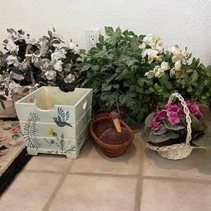 Lot # 90 - Artificial Plants, Baskets and Planters