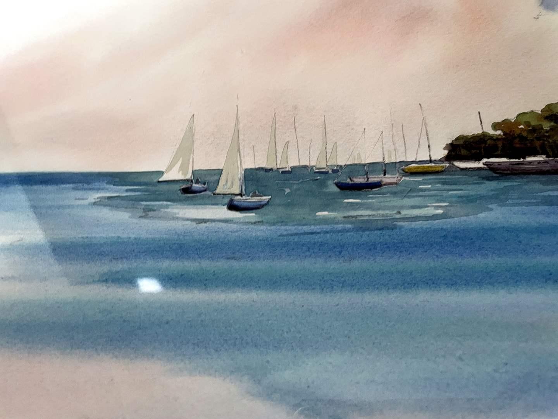 "Lot # 112 - Original Watercolor ""Quiet Anchorage"" by Marilyn Ann Deeds (main image)"