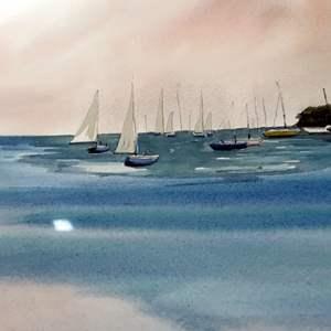 "Lot # 112 - Original Watercolor ""Quiet Anchorage"" by Marilyn Ann Deeds"